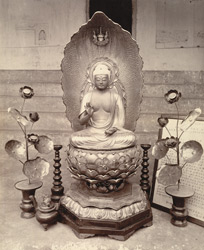 Japanese image of Buddha at Gaya. Said to be over 700 years old.